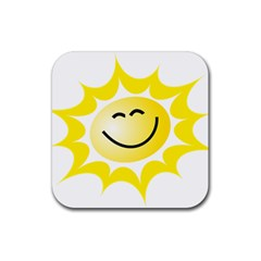 The Sun A Smile The Rays Yellow Rubber Square Coaster (4 Pack)  by Simbadda