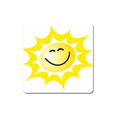 The Sun A Smile The Rays Yellow Square Magnet by Simbadda