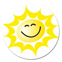 The Sun A Smile The Rays Yellow Magnet 5  (round) by Simbadda