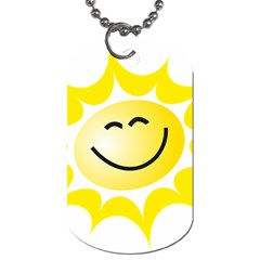 The Sun A Smile The Rays Yellow Dog Tag (two Sides) by Simbadda