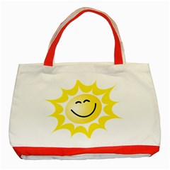 The Sun A Smile The Rays Yellow Classic Tote Bag (red) by Simbadda