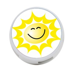 The Sun A Smile The Rays Yellow 4 Port Usb Hub (one Side) by Simbadda