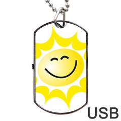 The Sun A Smile The Rays Yellow Dog Tag Usb Flash (two Sides) by Simbadda