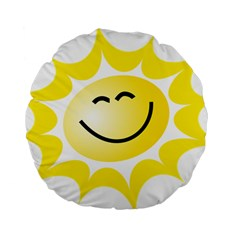 The Sun A Smile The Rays Yellow Standard 15  Premium Round Cushions by Simbadda