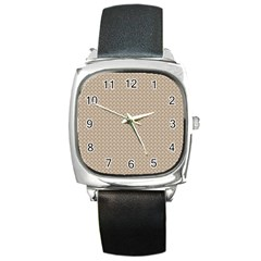 Pattern Ornament Brown Background Square Metal Watch by Simbadda