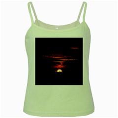Sunset Sun Fireball Setting Sun Green Spaghetti Tank