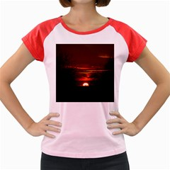Sunset Sun Fireball Setting Sun Women s Cap Sleeve T Shirt by Simbadda