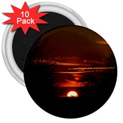 Sunset Sun Fireball Setting Sun 3  Magnets (10 Pack)  by Simbadda