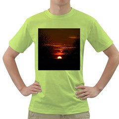 Sunset Sun Fireball Setting Sun Green T Shirt by Simbadda