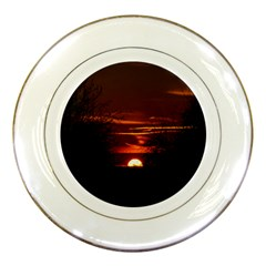 Sunset Sun Fireball Setting Sun Porcelain Plates by Simbadda