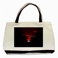 Sunset Sun Fireball Setting Sun Basic Tote Bag by Simbadda