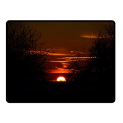 Sunset Sun Fireball Setting Sun Double Sided Fleece Blanket (small)  by Simbadda
