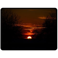 Sunset Sun Fireball Setting Sun Double Sided Fleece Blanket (large)  by Simbadda