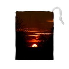 Sunset Sun Fireball Setting Sun Drawstring Pouches (large)  by Simbadda