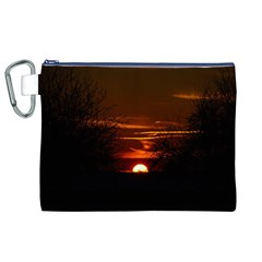 Sunset Sun Fireball Setting Sun Canvas Cosmetic Bag (xl) by Simbadda
