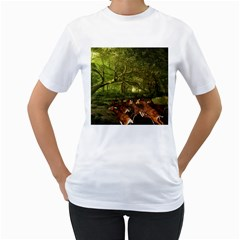 Red Deer Deer Roe Deer Antler Women s T Shirt (white) (two Sided) by Simbadda