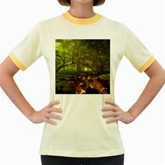 Red Deer Deer Roe Deer Antler Women s Fitted Ringer T Shirts by Simbadda