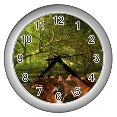 Red Deer Deer Roe Deer Antler Wall Clocks (silver)  by Simbadda