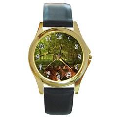 Red Deer Deer Roe Deer Antler Round Gold Metal Watch by Simbadda