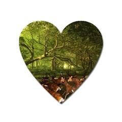 Red Deer Deer Roe Deer Antler Heart Magnet by Simbadda