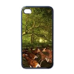 Red Deer Deer Roe Deer Antler Apple Iphone 4 Case (black) by Simbadda