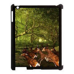 Red Deer Deer Roe Deer Antler Apple Ipad 3/4 Case (black) by Simbadda