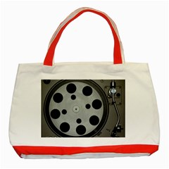 Turntable Record System Tones Classic Tote Bag (red) by Simbadda