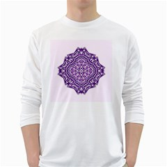 Mandala Purple Mandalas Balance White Long Sleeve T Shirts by Simbadda