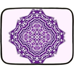 Mandala Purple Mandalas Balance Fleece Blanket (mini) by Simbadda