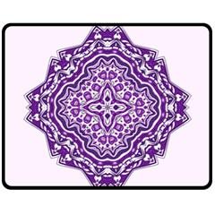 Mandala Purple Mandalas Balance Fleece Blanket (medium)  by Simbadda
