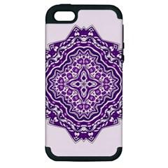 Mandala Purple Mandalas Balance Apple Iphone 5 Hardshell Case (pc+silicone) by Simbadda