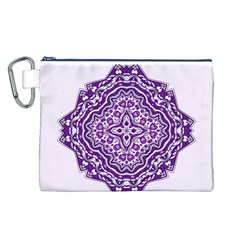 Mandala Purple Mandalas Balance Canvas Cosmetic Bag (l) by Simbadda