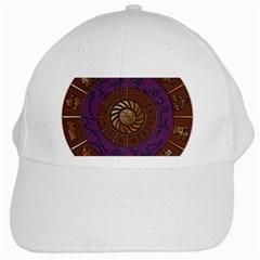 Zodiak Zodiac Sign Metallizer Art White Cap by Simbadda