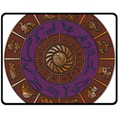 Zodiak Zodiac Sign Metallizer Art Double Sided Fleece Blanket (medium)  by Simbadda