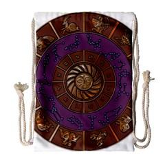 Zodiak Zodiac Sign Metallizer Art Drawstring Bag (large) by Simbadda