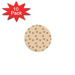 Pattern Gingerbread Star 1  Mini Buttons (10 Pack)  by Simbadda