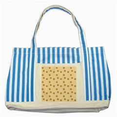 Pattern Gingerbread Star Striped Blue Tote Bag by Simbadda