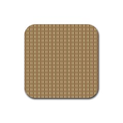 Pattern Background Brown Lines Rubber Square Coaster (4 Pack)  by Simbadda