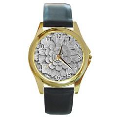 Pattern Motif Decor Round Gold Metal Watch by Simbadda