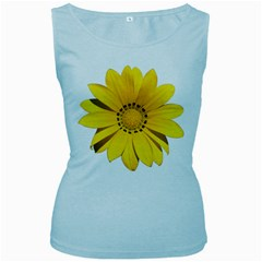 Transparent Flower Summer Yellow Women s Baby Blue Tank Top by Simbadda
