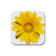 Transparent Flower Summer Yellow Rubber Square Coaster (4 Pack)  by Simbadda
