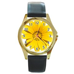 Transparent Flower Summer Yellow Round Gold Metal Watch by Simbadda