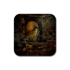 Woman Lost Model Alone Rubber Square Coaster (4 Pack)  by Simbadda