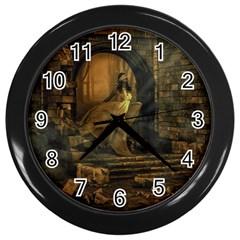 Woman Lost Model Alone Wall Clocks (black)