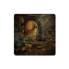 Woman Lost Model Alone Square Magnet by Simbadda