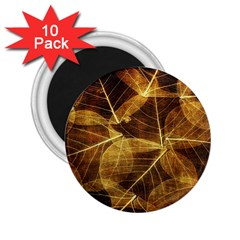 Leaves Autumn Texture Brown 2 25  Magnets (10 Pack)  by Simbadda
