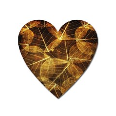 Leaves Autumn Texture Brown Heart Magnet by Simbadda
