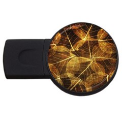 Leaves Autumn Texture Brown Usb Flash Drive Round (4 Gb) by Simbadda