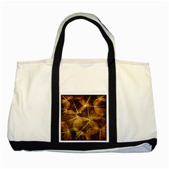 Leaves Autumn Texture Brown Two Tone Tote Bag by Simbadda