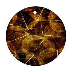Leaves Autumn Texture Brown Round Ornament (Two Sides) by Simbadda